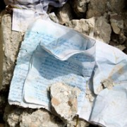 A notebook in the rubble