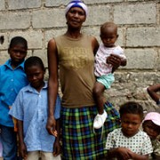 Mother and her 7 kids come for Vitamins at Marre a Coiffe Primary School