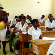 High school students testing at St. Thomas Secondary, which accepted over 100 displaced students from Port au Prince for the second half of the year