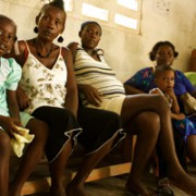 Pregnant women wait to consult with Nurse Rachel during our