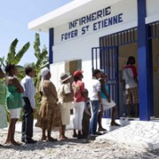 Patients lined at Hope for Haiti Infirmary