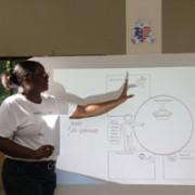 Nurse Pierrette teaches proper nutrition