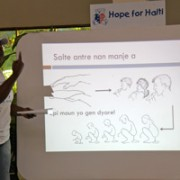 Nurse Pierrette teaching hygiene and cholera prevention