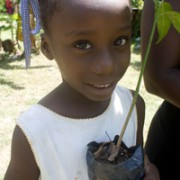 A young girl with her mother takes home a mango tree