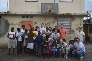 Group photo with the children from fraternite des jeunes orphanage
