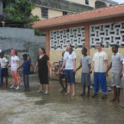 Playing Red Rover with the children from Fraternite des Jeunes Orphanage