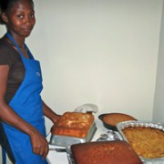 Student, Roseline Chery, with some of the students' delicious dishes