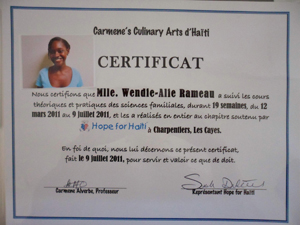 Wendie alie's certificate of completion