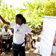 Hope for Haiti Program Manager, Jessica Jean-Francois, facilitates the community need assessment