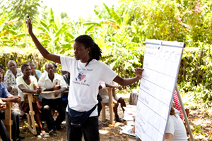 Hope for haiti program manager, jessica jean francois, facilitates the community need assessment