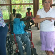 "Therapist Barbara leading Foyer residents in ""Senior-cise"" Program"