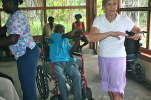 """Therapist barbara leading foyer residents in """"senior cise"""" program"""