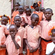 Students pose for a picture outside of Cornette Primary School