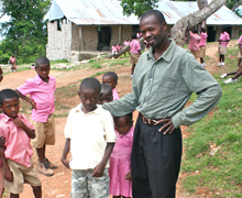 Rural School Director with Students.