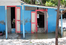 A home in cote de fer is still flooded 4 days after the storm passed.
