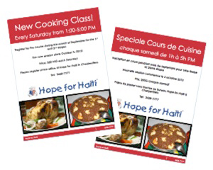 Flyers advertising a new session of cooking school