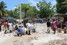 Market Day in Cote de Fer continues after Isaac, despite flooding and excessive mud.