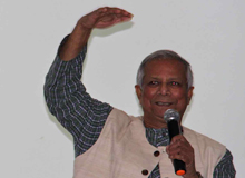 Professor Muhammad Yunus gives a presentation on his vision of social business for Haiti.