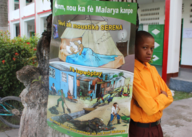 Ecole Normale student posing with malaria prevention poster.