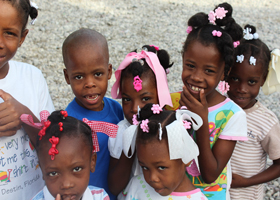 Young patients who received dental education by hope for haiti volunteer dr. dupervil.