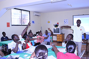 A teacher reviews the concepts