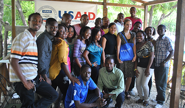 Hope for haiti program director jennifer lang with students