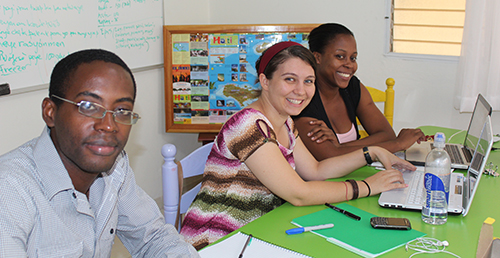 Interns Alexandra M. and Gretry R, working with Daiyana our Naples Development Assistant