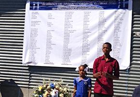 Students reciting an original poem