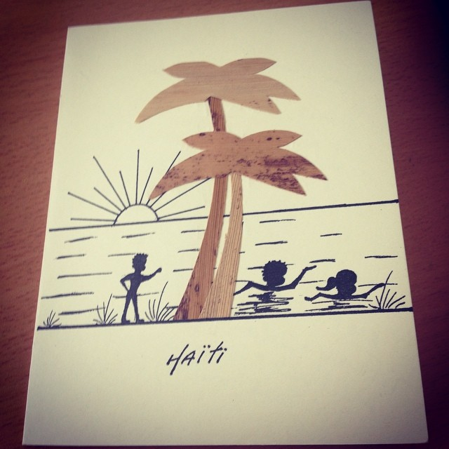 One of our favorite artists makes really neat post cards with banana leafs and black marker! #hopeforhaitifl #haiti #connecthealempower #haitianart #localimpact