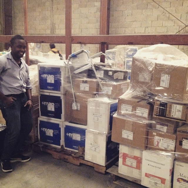 Our gift in kind officer showing off the latest shipment of supplies coming to #haiti! thank you to all our donors, especially +map international #thankyou #hopeforhaiti
