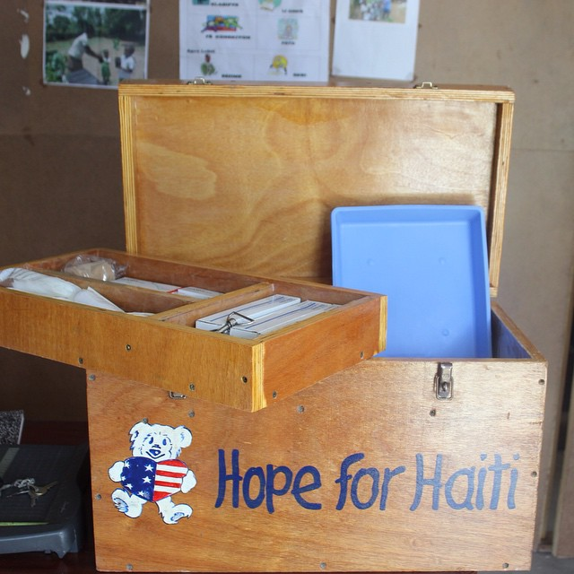 Here is one of the 12 first aid kits we distribute and keep stocked at schools that are in our #publichealth program! #haiti #hopeforhaiti #connecthealempower