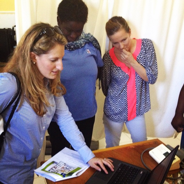 Our president/ceo tiffany, clinic director dr. elmide and chief program officer paula check out the new electronic medical records system at the clinic. we're now able to serve our patients quicker and more efficiently! #haiti #hopeforhaiti #healthyhaitians