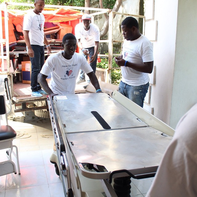 Special delivery! the team unloads a stretcher donated from the usa. it will go to one of the medical facilities in our #healthcare network! a big #mesianpil to our donors! #thankyou #haiti #hopeforhaiti
