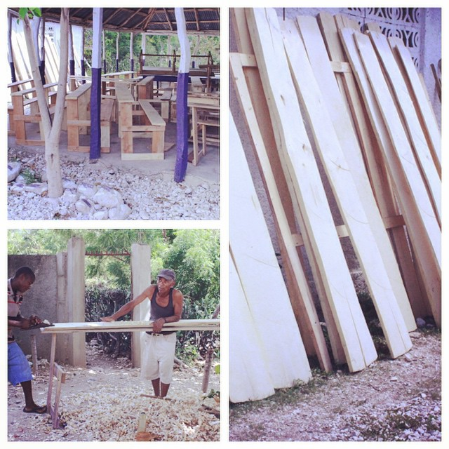 Making student desks in #haiti using the back to school funds provided by our education program! #haiti #hopeforhaiti #education