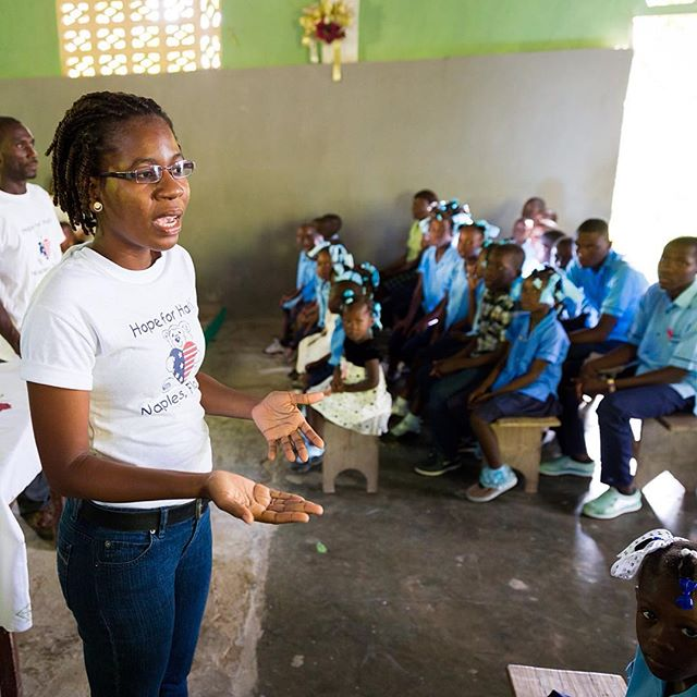 Miss claudine, one of our public health nurses teaches a lesson on hand washing. in conjunction with last weeks #globalhandwashingday our public health team made an effort to promote heathy hand washing habits to students at 12 schools in the program. #haiti #hopeforhaiti #hands #soap #stayhealthy