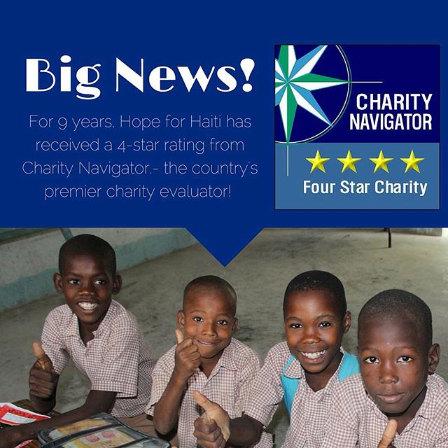 We're so proud to have earned 4 stars from @charitynav for the 9th time! the highest possible rating by charity navigator, this award illustrates our commitment to good governance, sound fiscal management and a proven track record of accountability and transparency. #haiti #hopeforhaiti #4stars