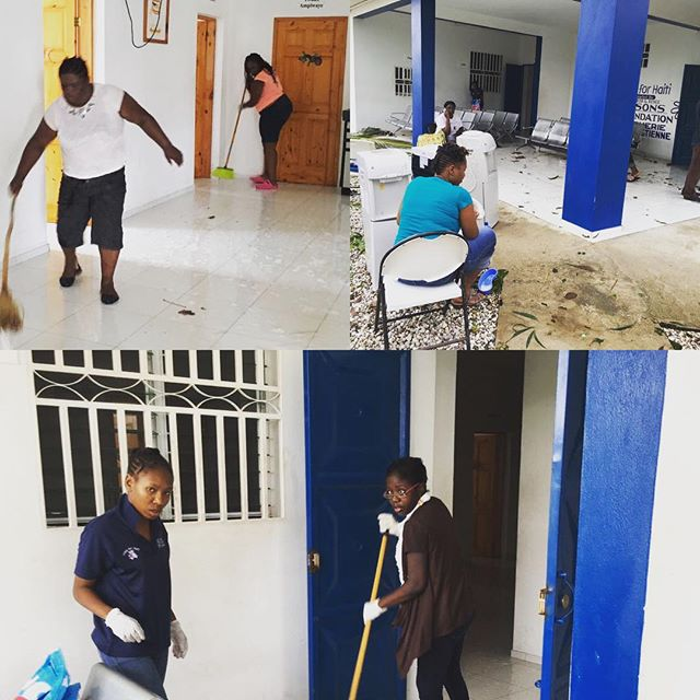 Getting our clinic cleaned and ready to be opened asap #hopeforhaiti #teamhope #hurricanematthew