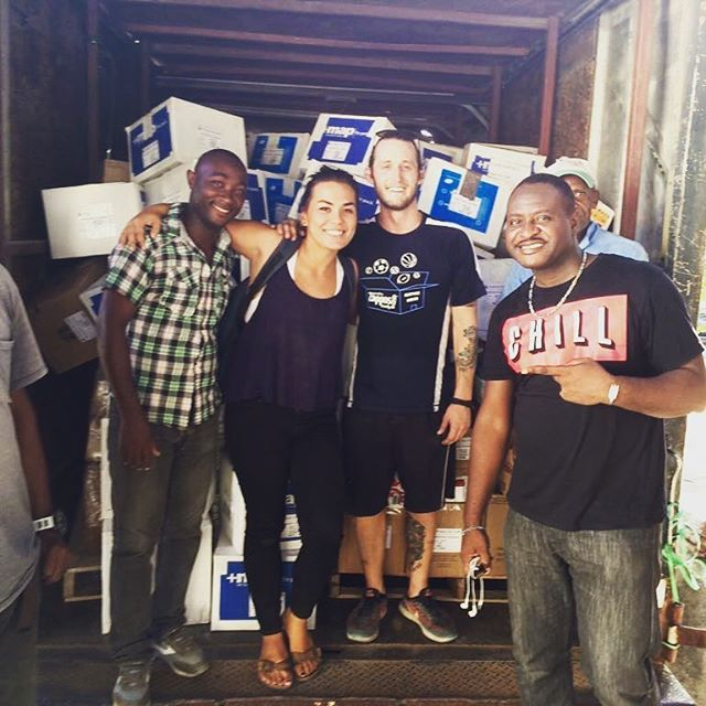@alexon our healthcare & water program manager picking up a shipment of @mapintl medication. a huge thank you to @haiti communitere for housing them. they will be flying to cayes in the am! #hurricanematthew