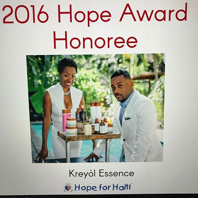 Congratulations to @kreyolessence our partner and the recipient of the 2016 hope award!!! #haiti #changethenarrative #hopeforhaiti #hfhgala2017