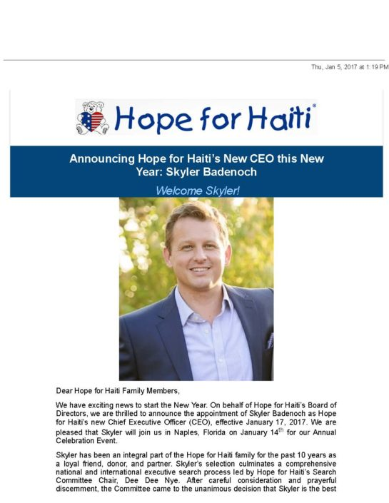 Hope for haiti mail hope for haiti announces new ceo (jpeg) page 1