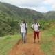 Almost there! our public health nurse miss evanie and one community health worker reach the final steps of a 3 hour hike to one of our most remote public health sites. it's a long hike, but worth it to share important health messages and provide basic first aid to the students and their families. learn more about our healthcare program by visiting our website, www.hopeforhaiti.com #haiti #hopeforhaiti #publichealth #mountainsbeyondmountains