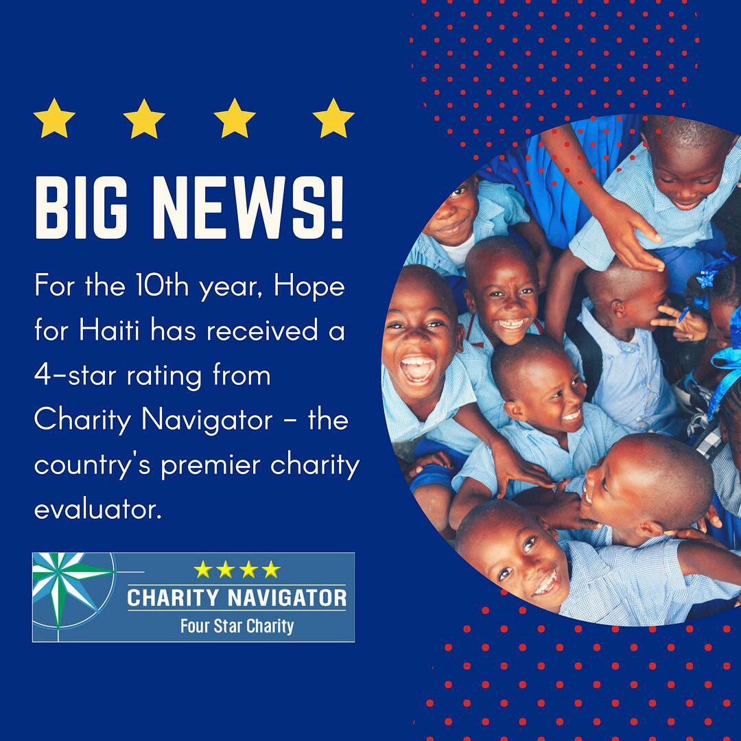 Have you heard? we've earned a coveted 4 star rating from charity navigator for the 10th time, which means we're accountable, transparent, and financially responsible! #hopeforhaiti #haiti