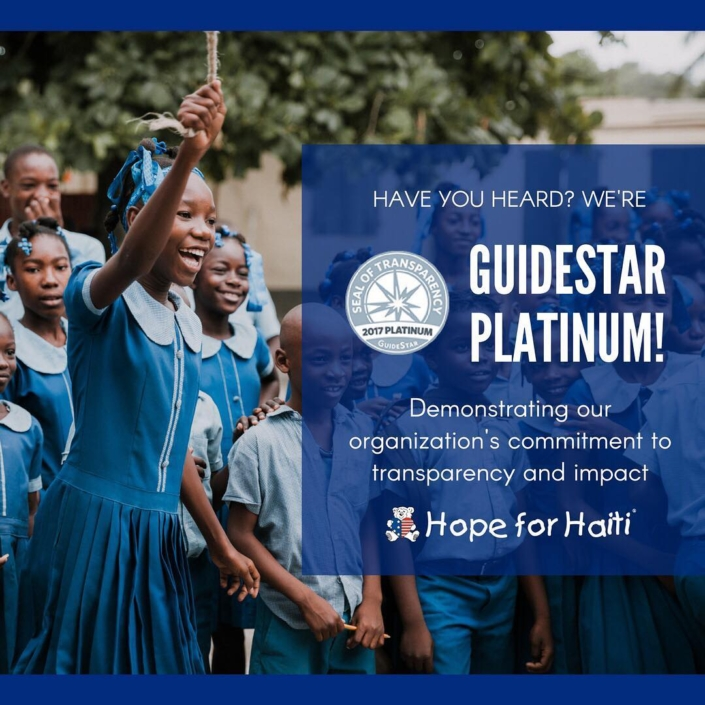 We did it! we're #guidestarplatinum. with this seal, we've demonstrated our commitment to transparency and results. we're proud to share our key metrics with the world and showcase the changes we're making! #haiti #nonprofit #hopeforhaiti