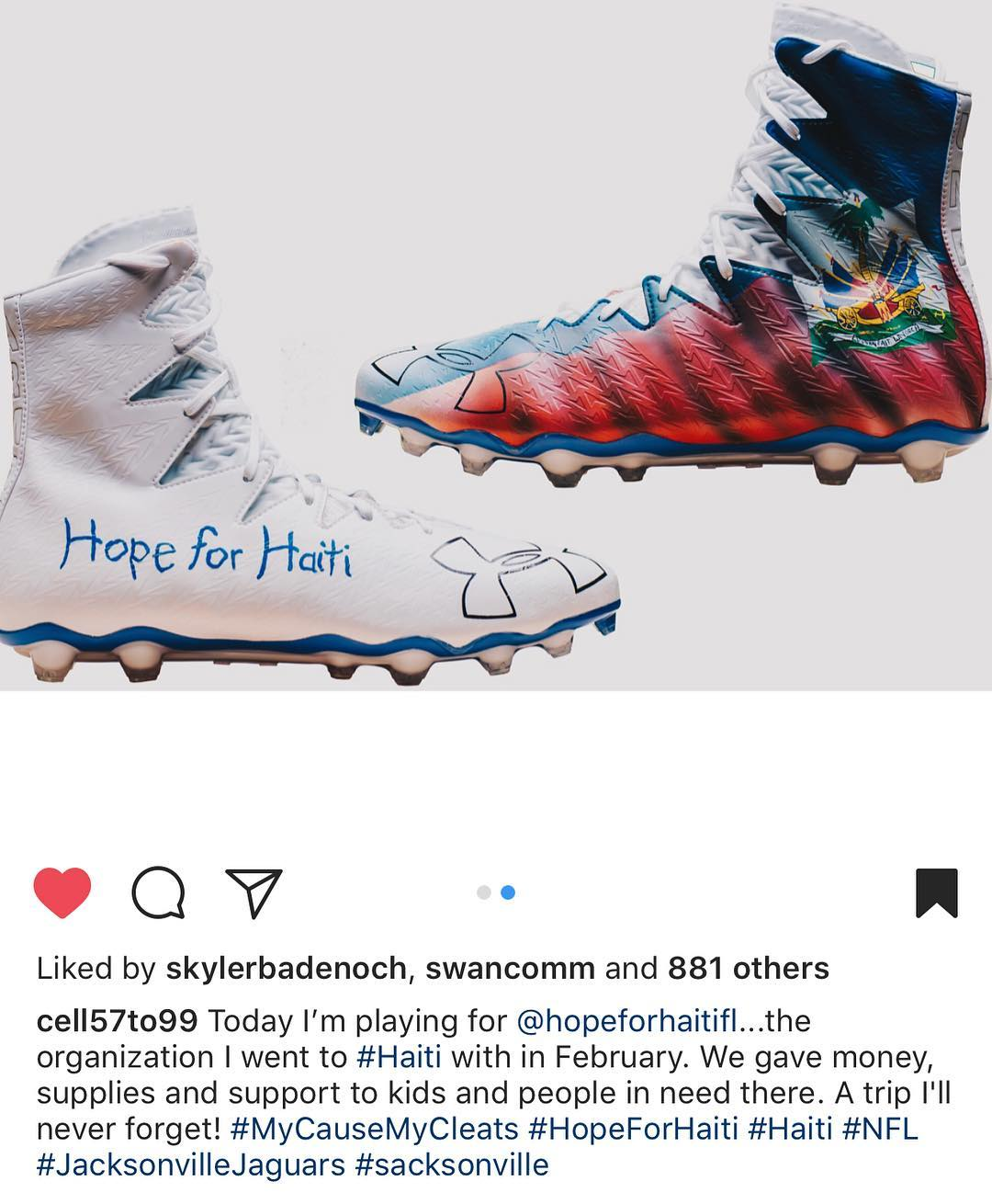 Good luck today @cell57to99 and thank you, #mesianpil for your continued support! #haiti #hopeforhaiti @jaguars @nfl