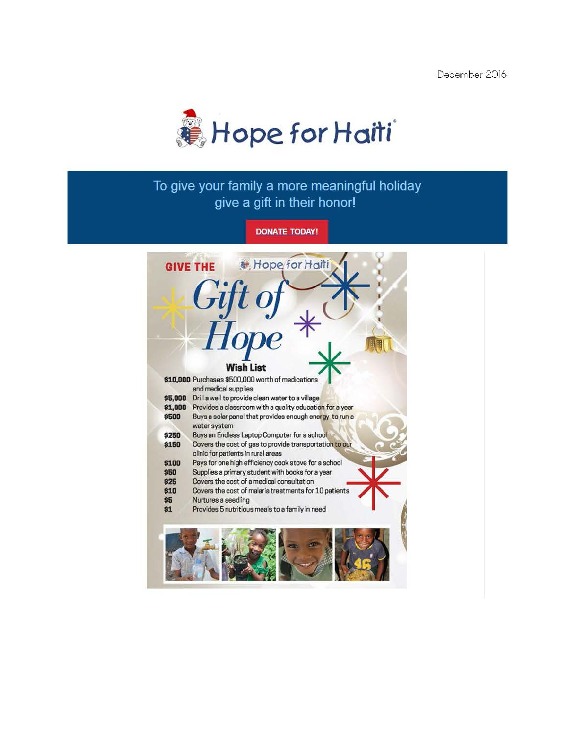 December 2016- Give the Gift of Hope