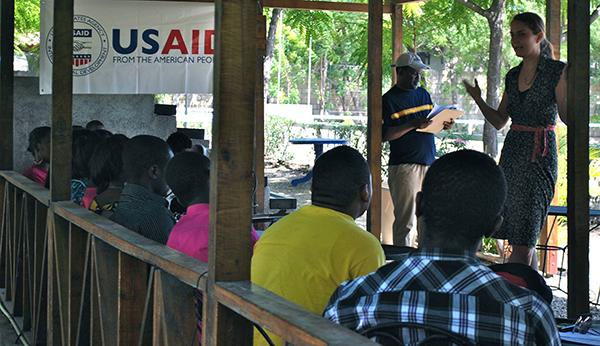 Hope for Haiti Program Director Jennifer Lang gives her presentation