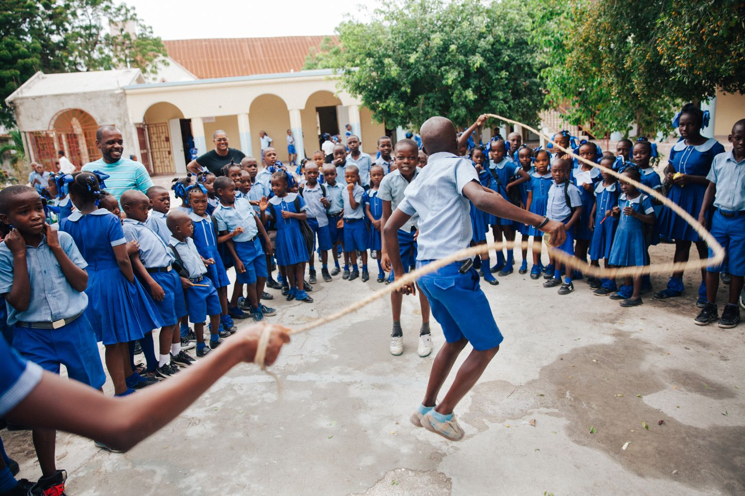 Child in Haiti Jumping Rope
